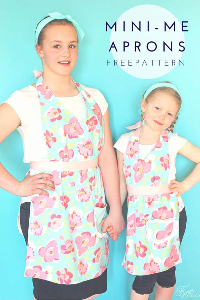 Matching aprons for you and your mini-me! FREE pattern and tutorial