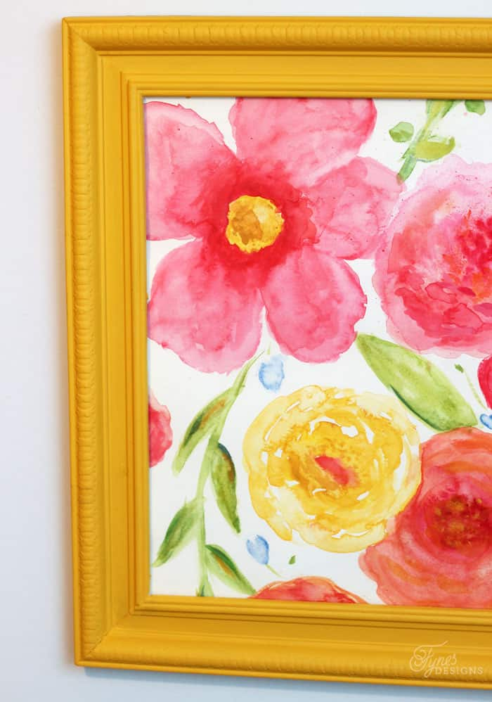 Floral water color painting, in a blod Va Va Voom Yellow frame