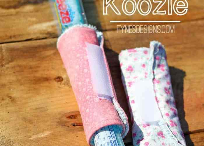 Easy to sew Freezie Coozie with a dollar store wash cloth , tutorial featured by top US craft blog, Fynes Designs