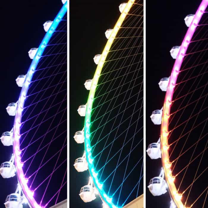 The Linq on Las Vegas Boulevard lights on the Vegas strip , captured with  Fuji XA-2 digital camera