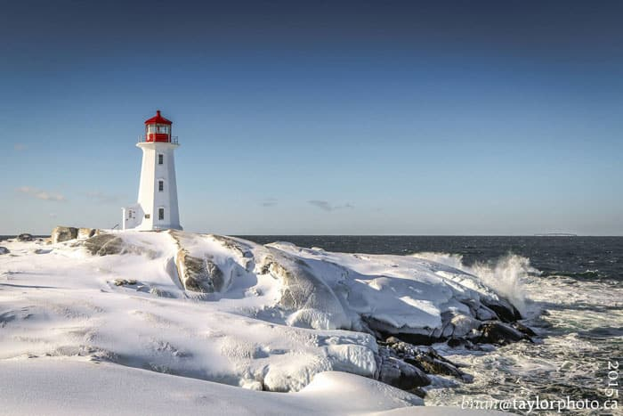 Peggy's Cove lighthouse in the winter