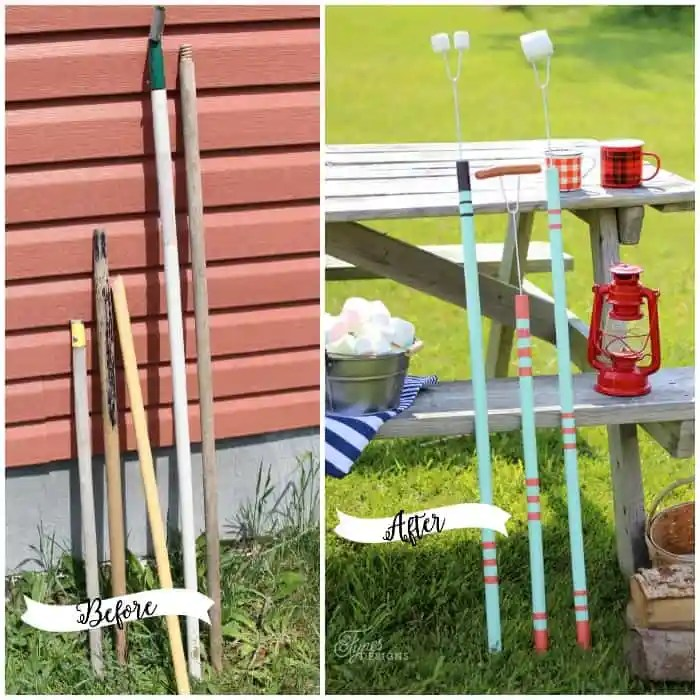 Make Marshmallow roasting sticks from broken rake and shovel handles and dollar store BBQ fork