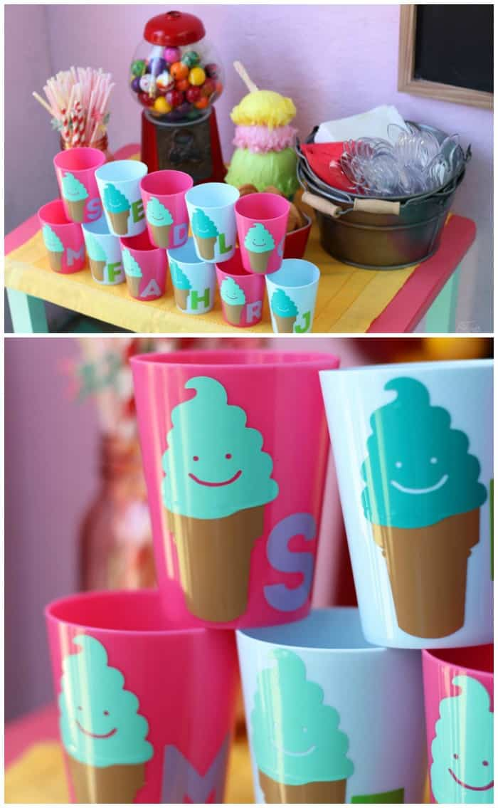 DIY Personalized Ice cream cups with vinyl stickers