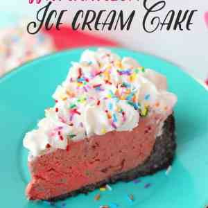 Easy to make Watermelon Ice Cream Cake- Just a few simple steps to a delicious summer dessert