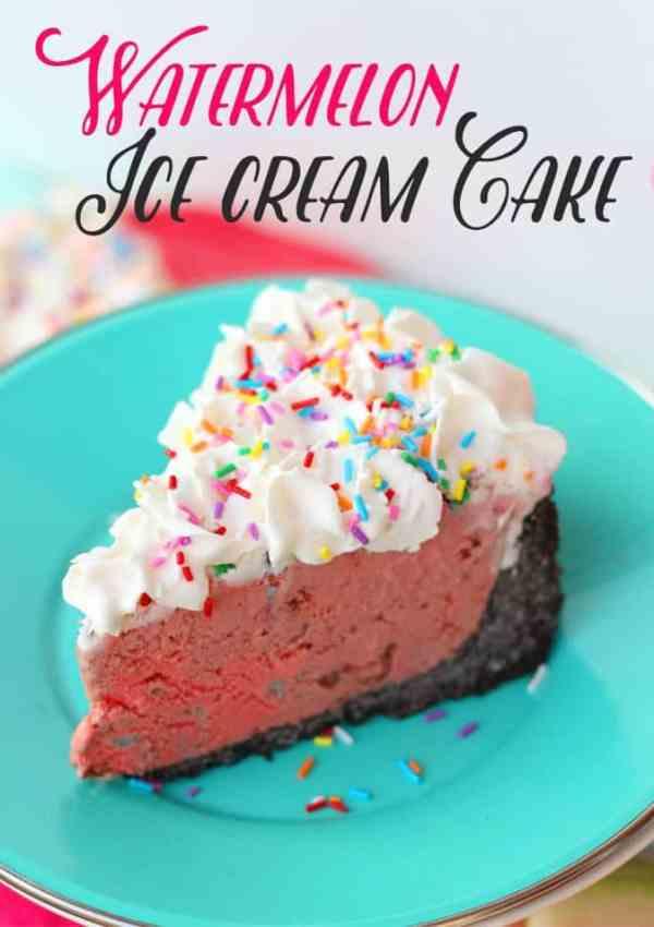 Easy to Make Watermelon Ice Cream Cake