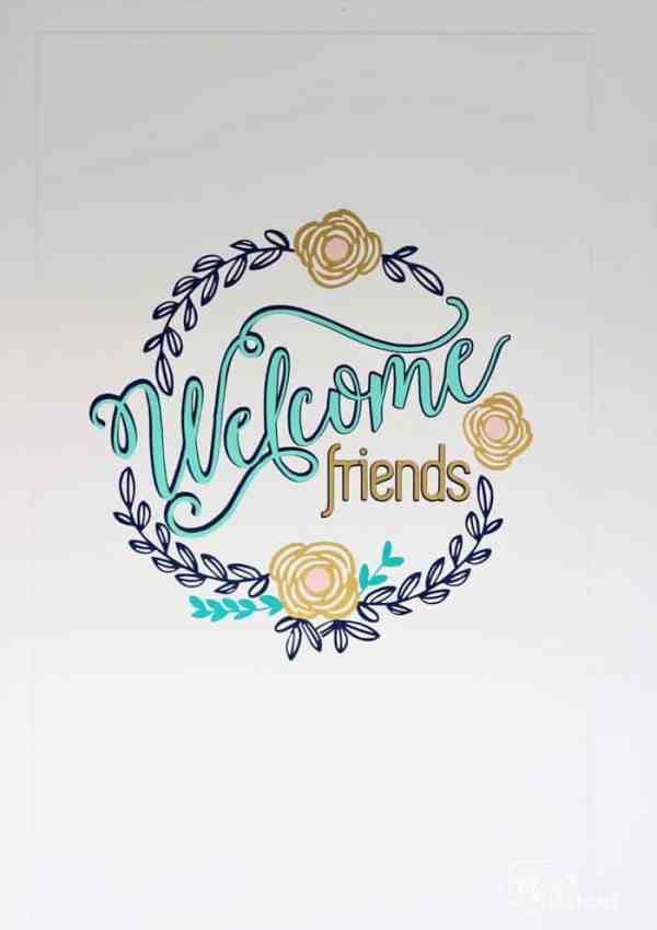 Welcome Friends Vinyl Door Decal- Free Silhouette Cut File