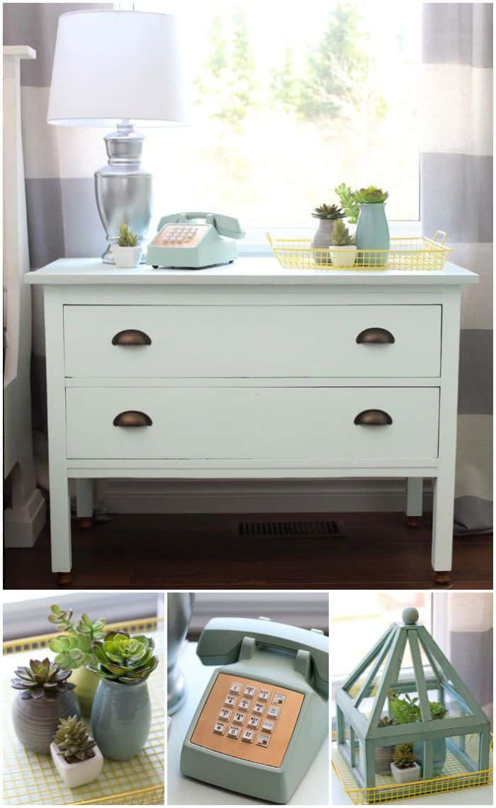 dresser turned into a nightstand by cutting off the top row of drawers