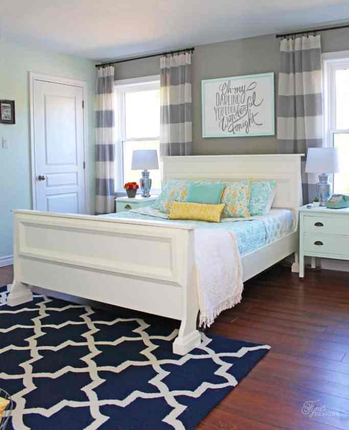 Master bedroom reveal with fresh farmhouse touches | Bright and Colourful Master Bedroom refresh | Colorful Master Bedroom Refresh by popular home decor blog, FYN Designs: image of a bright and colorful master bedroom with farmhouse touches.