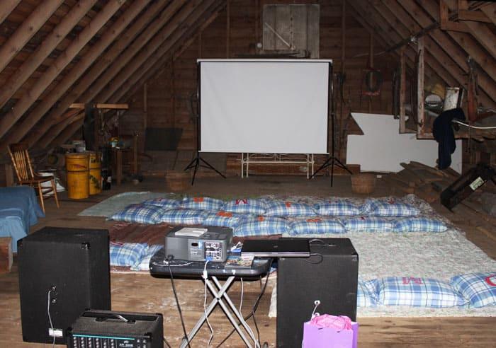 barn style movie night