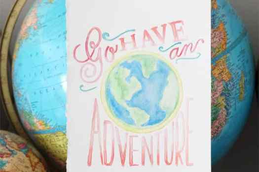 Globe adventure watercolor created with the Silhouette Curio