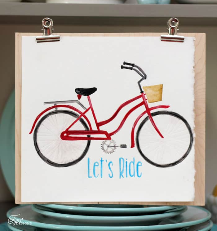 vintage bike watercolor created with the Silhouette Curio