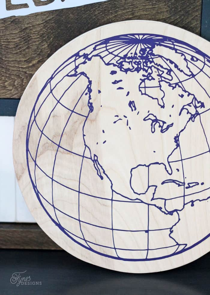 Did you know you can use HTV on wood?! Works awesome for fine lines- click to learn how to make this globe sign
