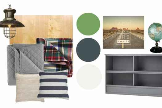 Little boy's Rustic room makeover moodboard