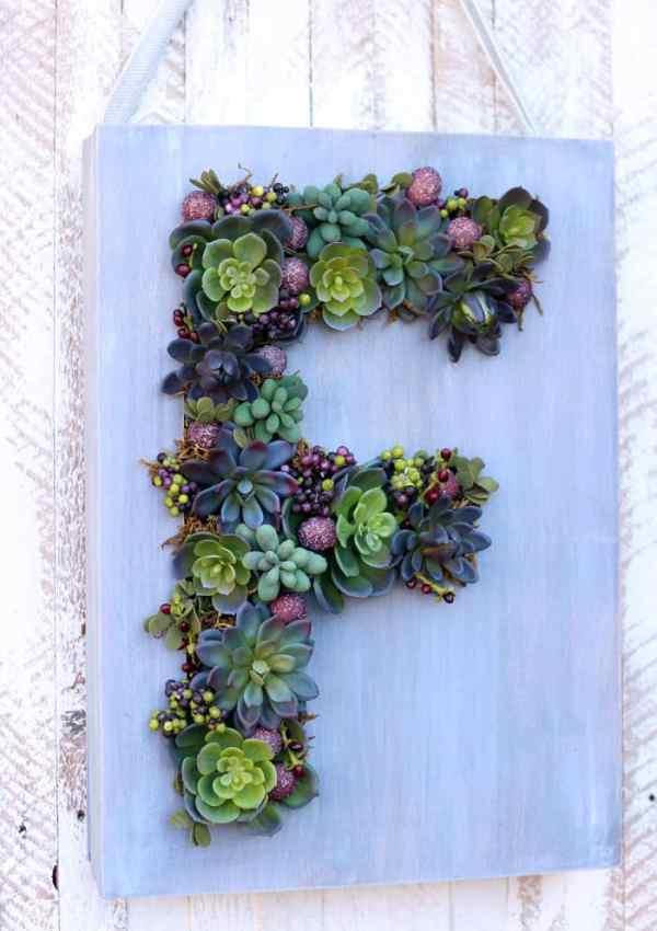 Monogram Faux Succulent Wreath