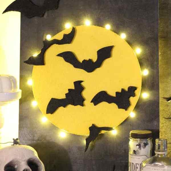 Halloween, full moon bat sign made with styrofoam #makeitfuncrafts