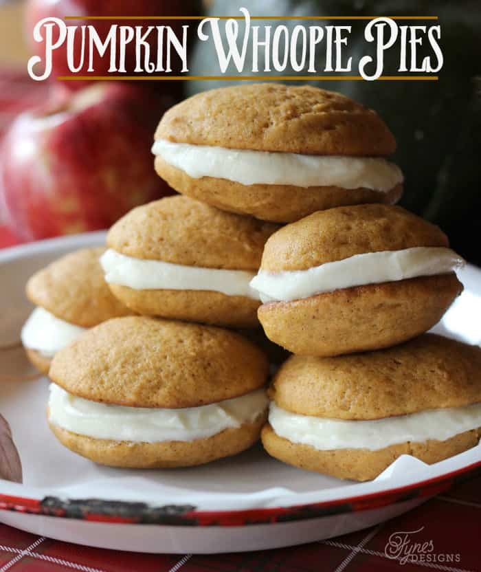 Soft and delicious pumpkin whoopie pies with cream cheese icing | Fall Front Porch Ideas by popular Canada life and style blog, Fynes Designs: image of a plate full of pumpkin whoopie pies.