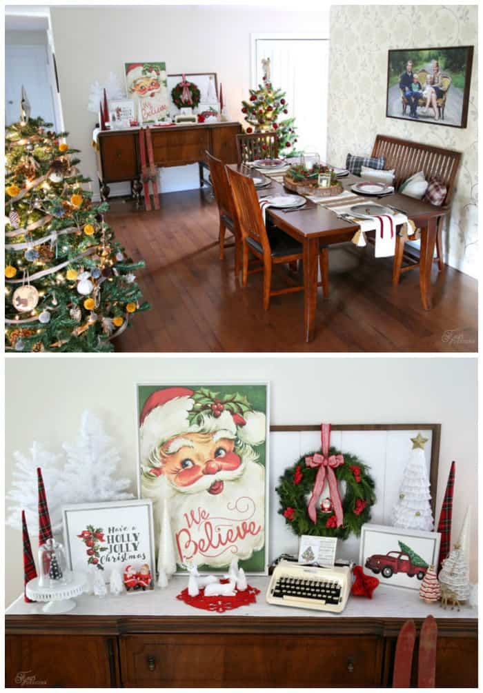 Christmas Dining room decor with plaid monogram plates and personalized canvas art