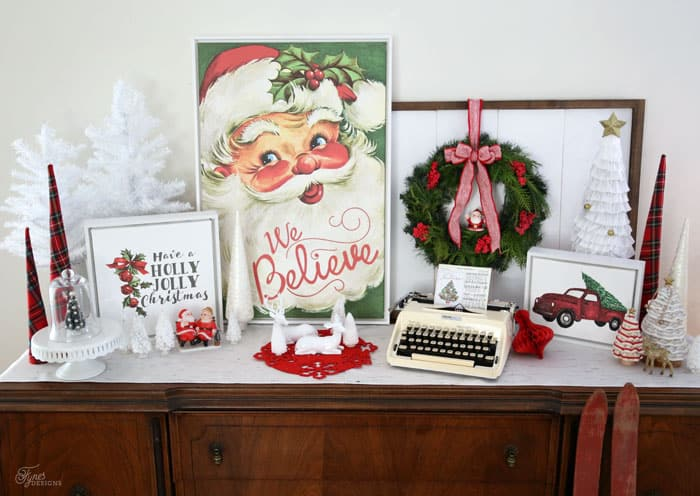 Christmas vignette with Vintage Santa 'We Believe' Canvas print