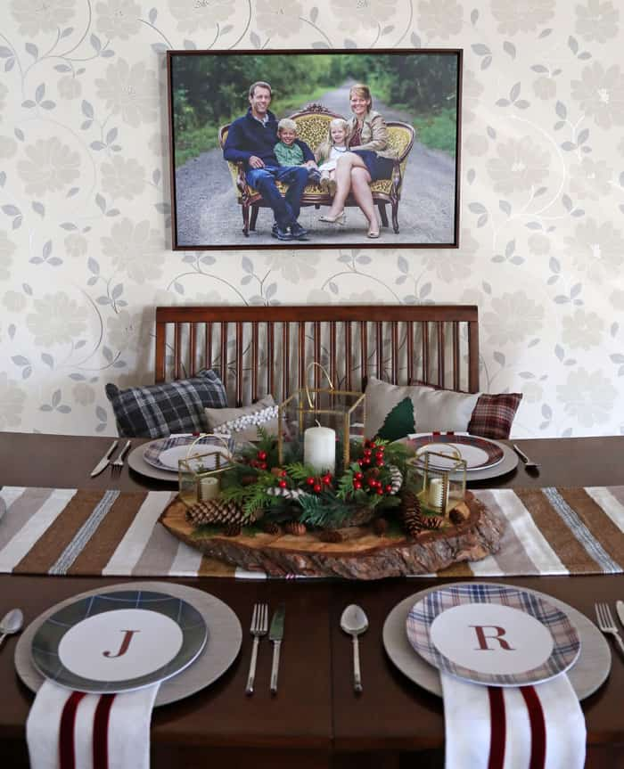Easy Christmas vignette with Shutterfly monogram plaid plates
