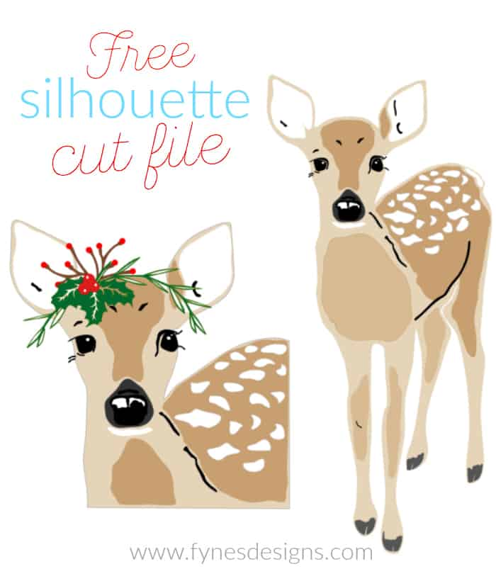 Free Christmas deer Silhouette Cut file from Fynes Designs