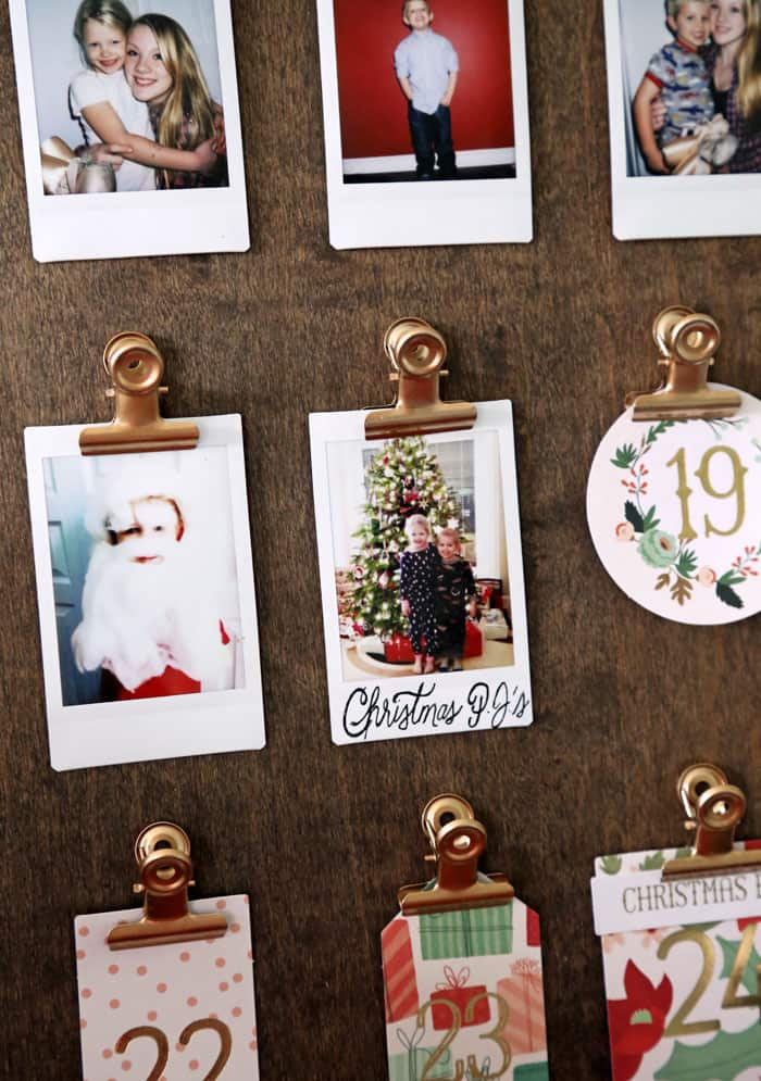 Remove the day tag and add a Instax photo for a Holiday Photo calendar. Place the photos in an album or leave them up to enjoy long after the season is gone!