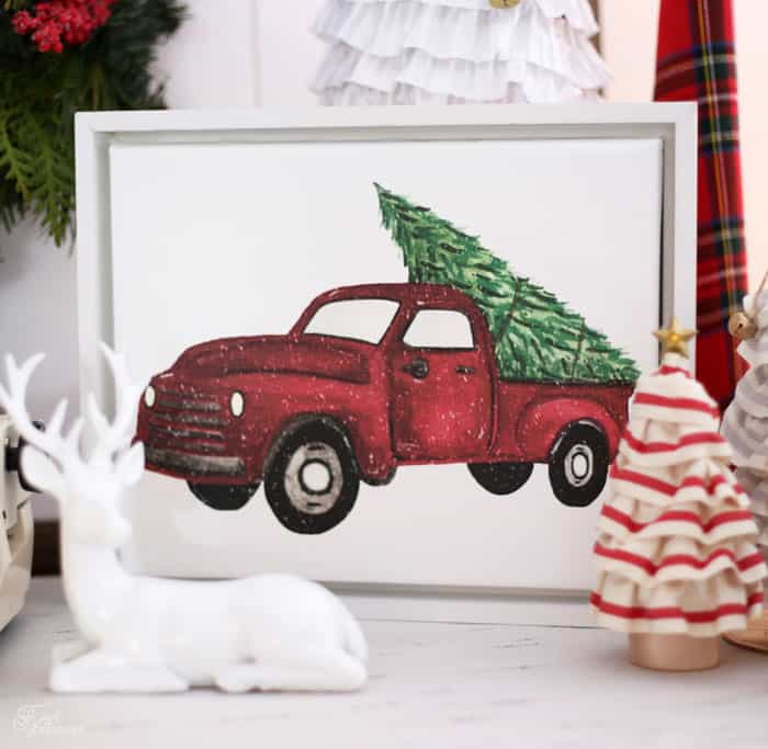 Vintage red truck custom Christmas canvas from Shutterfly