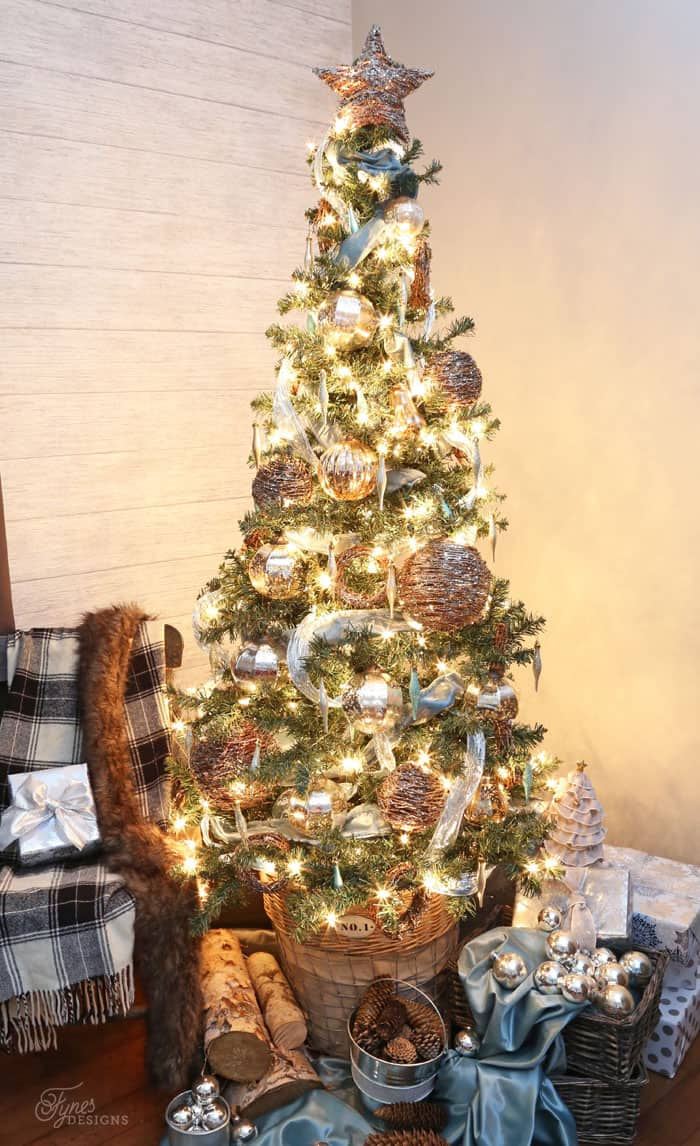 Glowing rustic glam Christmas tree decorations