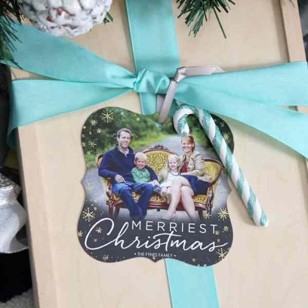 Add a christmas card ornaments to gifts for a personal touch