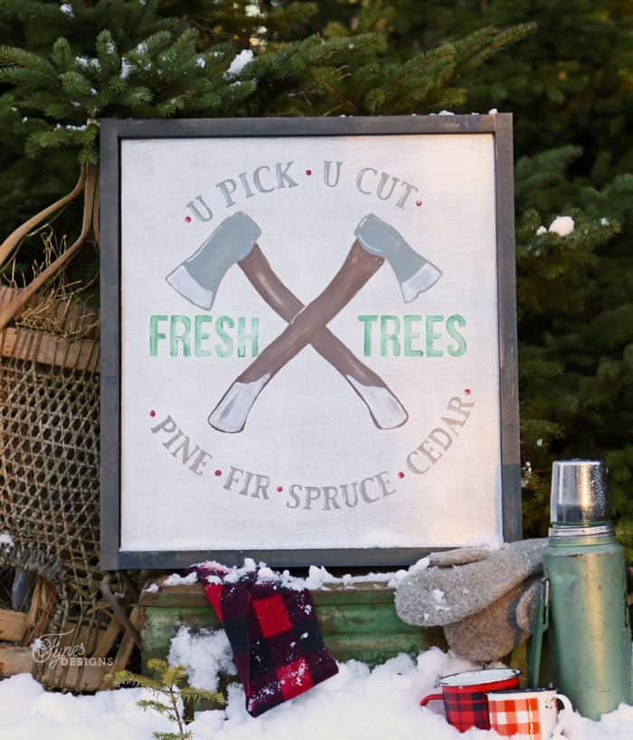 Fresh Cut Trees Painted sign- Free Silhouette cut file Christmas Trio