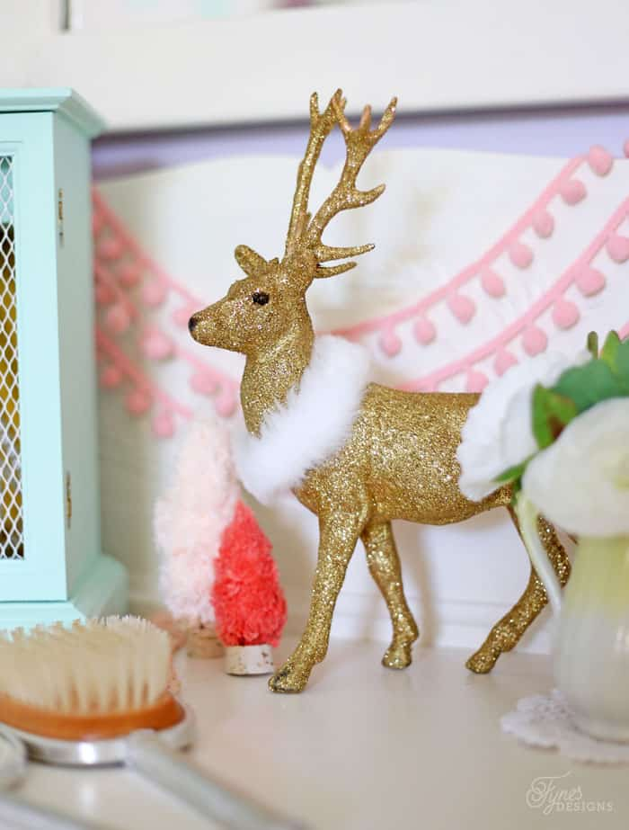 Glittered Reindeer in a fun girls Christmas bedroom