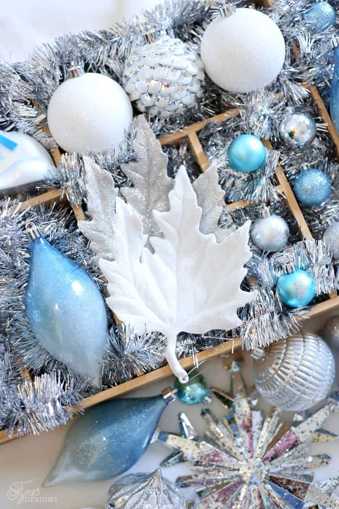 Glittered leaf ornaments from The Home Depot