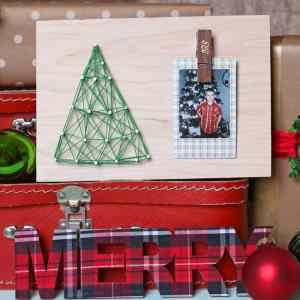 Kids string art Christmas craft