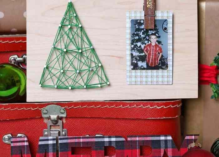 Kids string art Christmas craft
