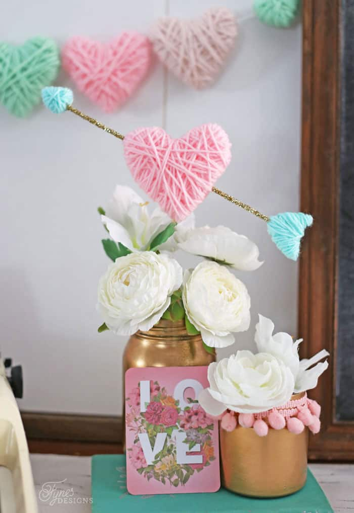 Yarn Wrapped Hearts tutorial featured by top US craft blog, Fynes Designs: Wrap styrofoam hearts in yarn for a kid friendly Valentine's Day craft