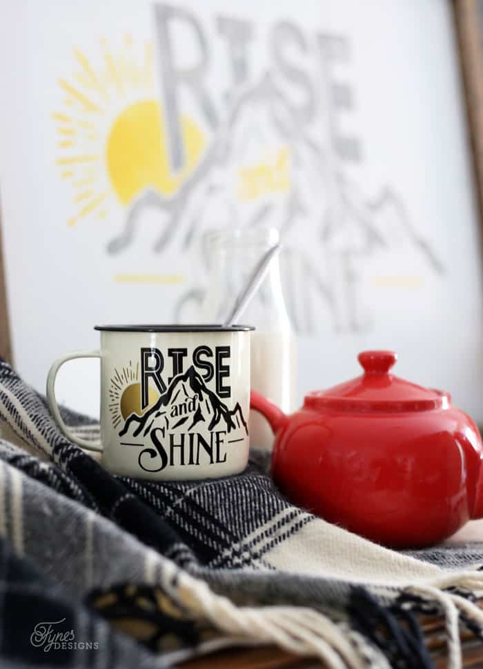 Rise and Shine Free Silhouette Cut File. Use in various ways, on mugs, painted signs, scrapbooking layouts