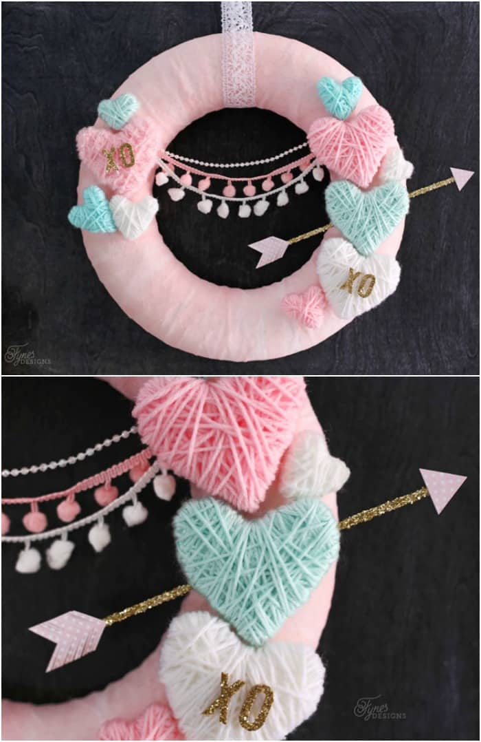 Yarn Wrapped Hearts tutorial featured by top US craft blog, Fynes Designs: Wrap styrofoam hearts in yarn for a kid friendly Valentine's Day craft. NO GLUE, NO MESS! Use to create Valentine's day wreaths, flower picks, and garland.