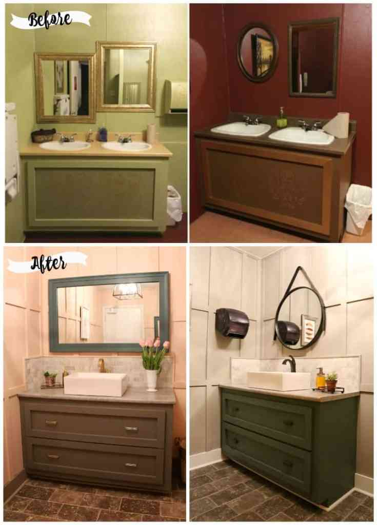 Before and After DIY Floral Weekend Bathroom Makeover featured by top DIY blog, Fynes Designs:  Before and After Resturant restroom makeover