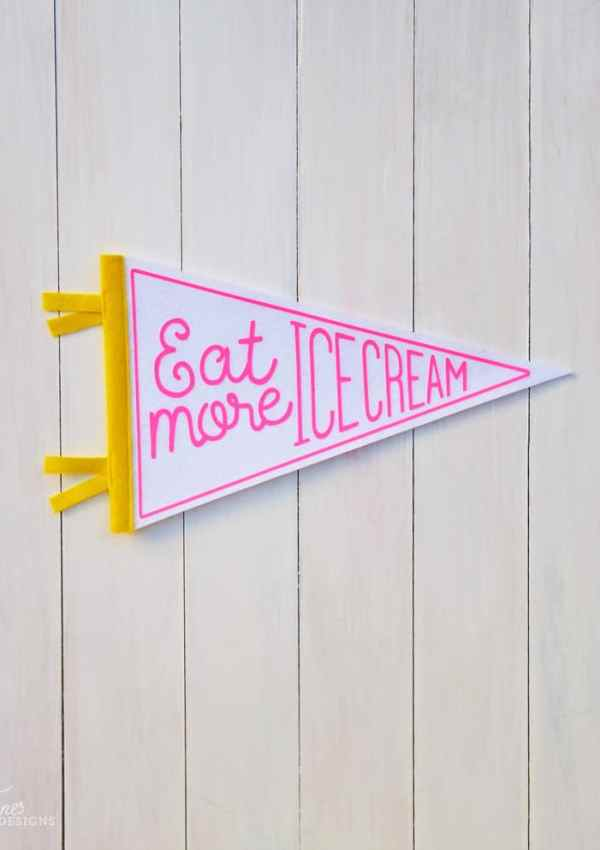 Eat More Ice Cream DIY Pennant flag with Neon heat transfer vinyl