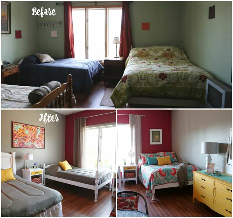 Before and After makeover in an Airbnb rental room