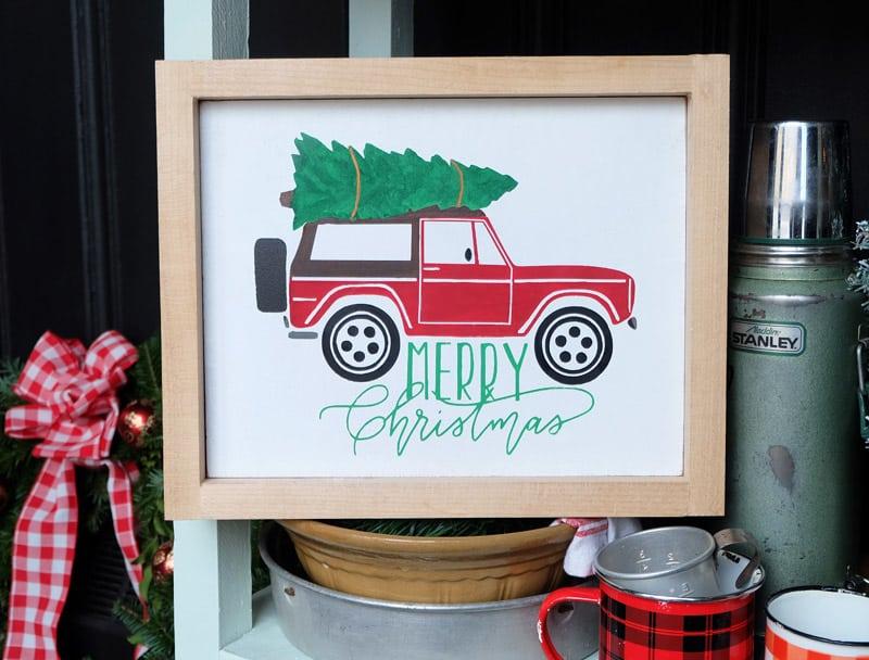 Christmas Bronco and Camper Van Silhouette Cut File