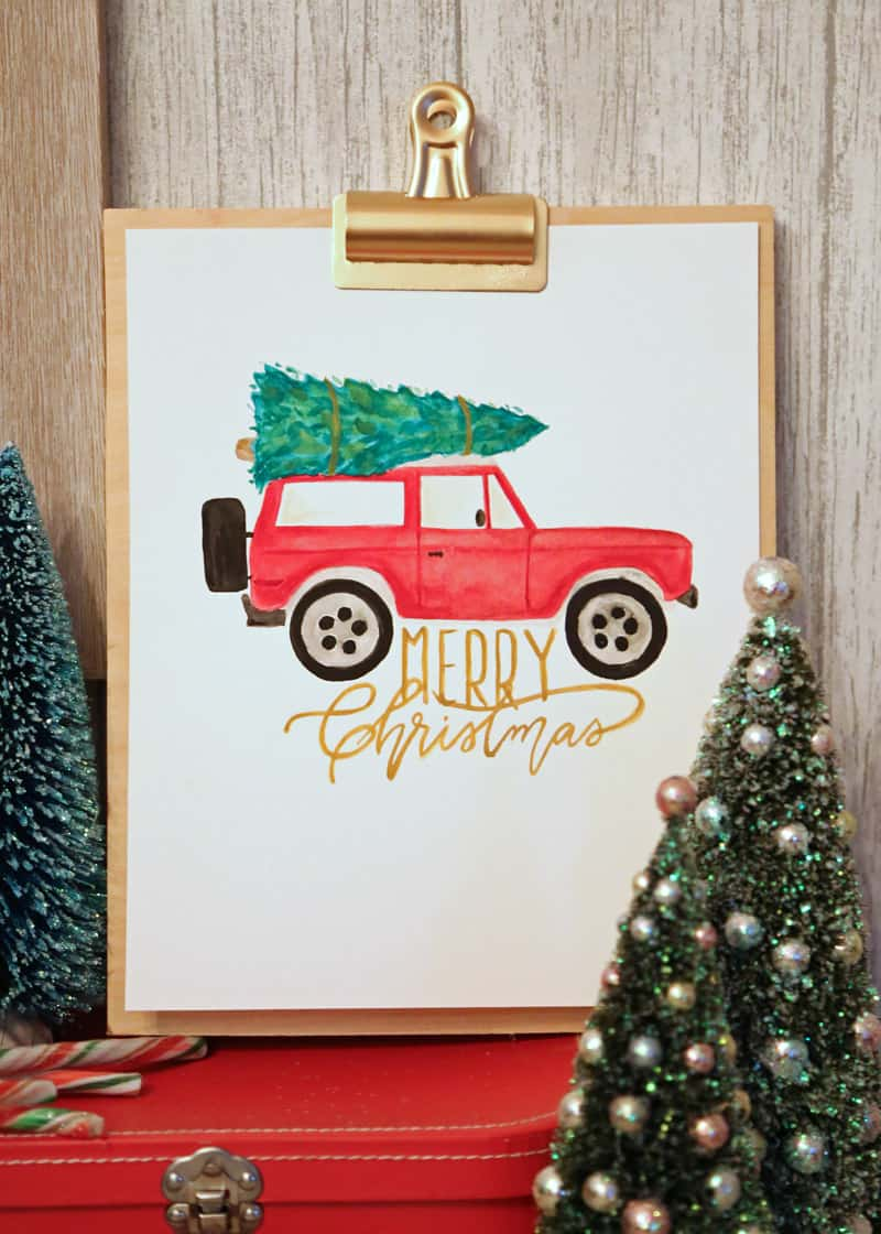 Watercolor Christmas truck - FREE Silhouette Cut Files