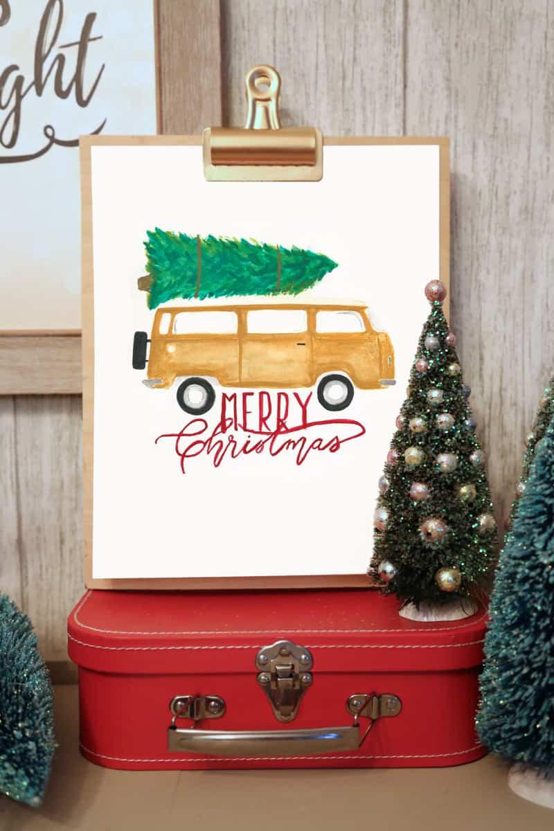 Watercolor Christmas Vintage Camper Van - FREE Silhouette Cut Files