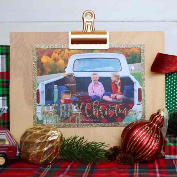 Oversized no mess glitter Christmas cards from Shutterfly
