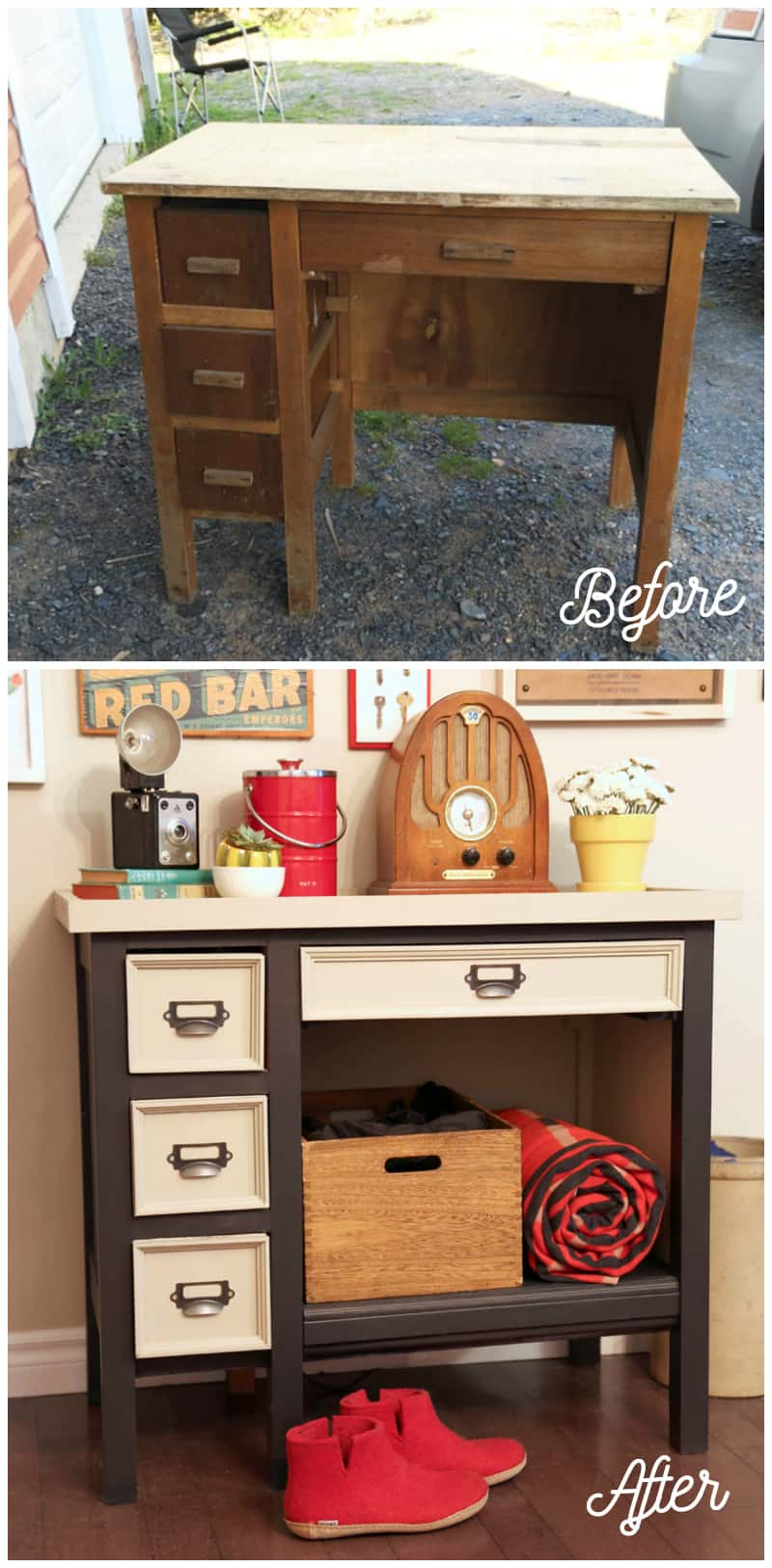Before and After old desk makeover