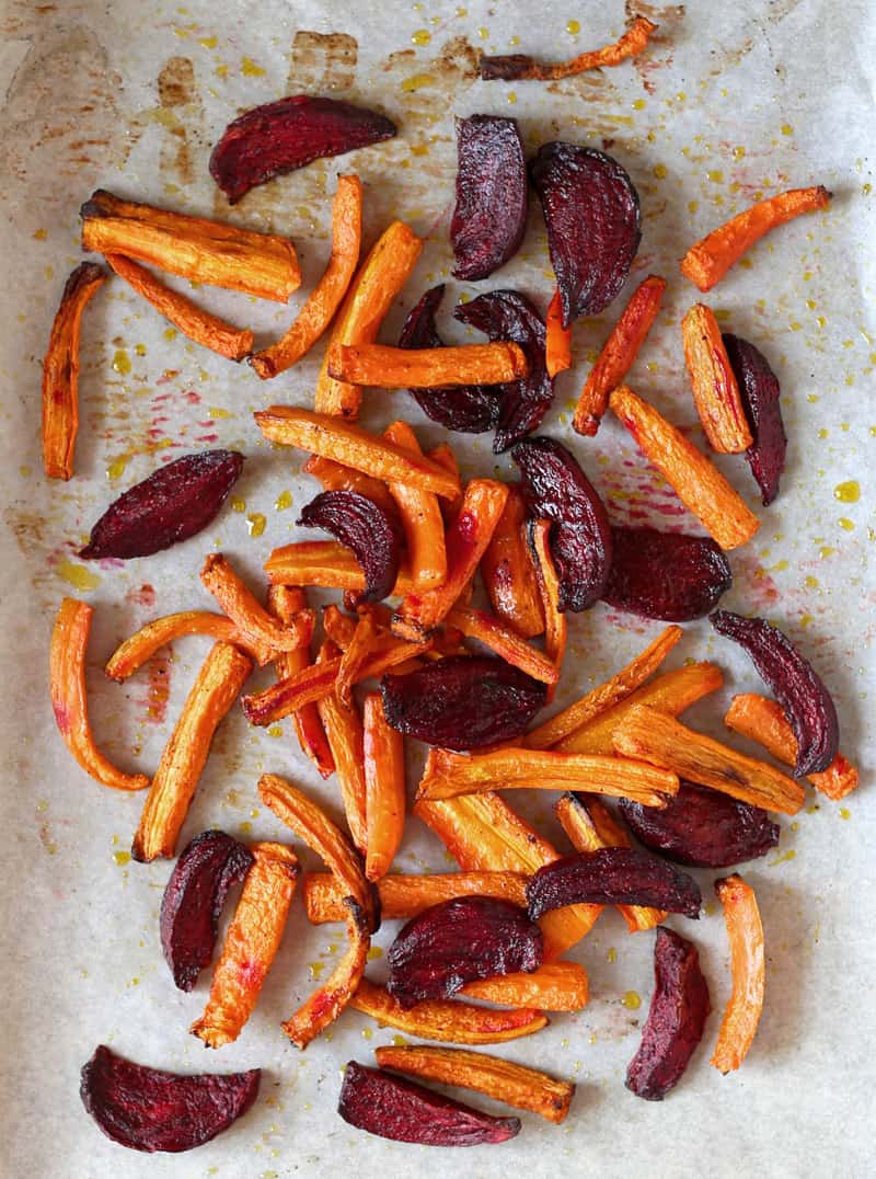 Roasted Carrots and Beets with Lemon Infused Olive Oil