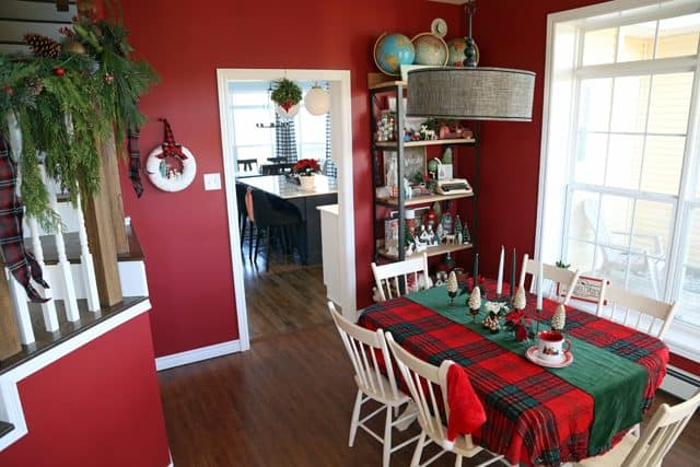 Red plaid Christmas dining room