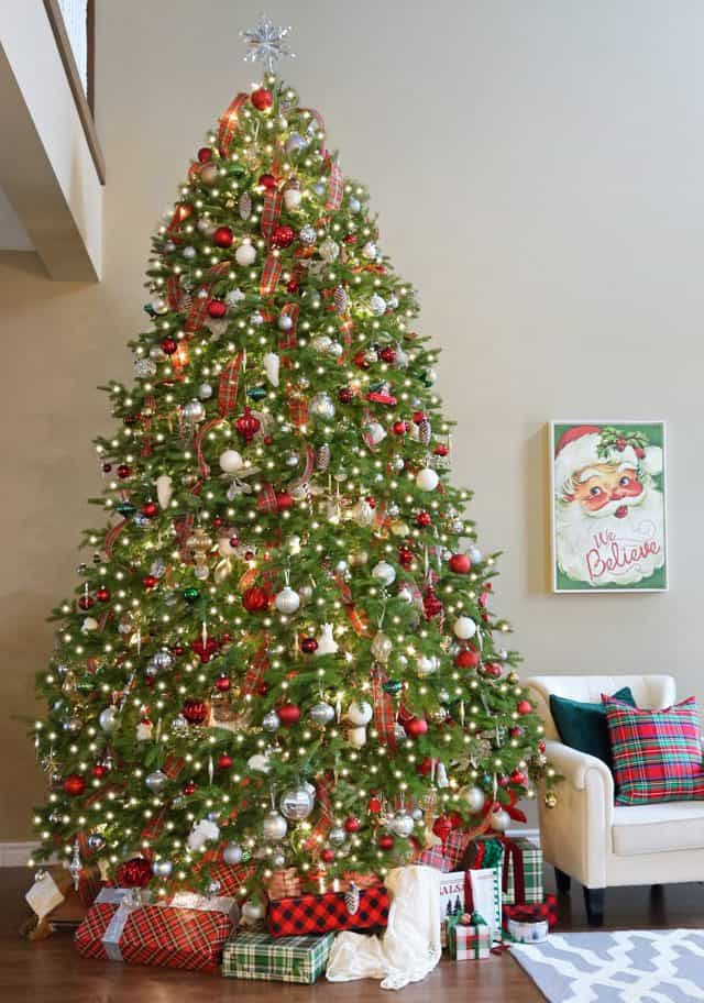 Red, Green and mixed metallic Christmas Tree