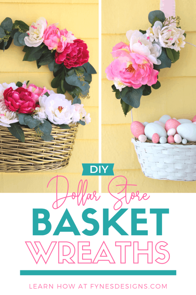 Learn how to make basket wreath with supplies from the dollar store. Make this pretty spring wreath for $10!