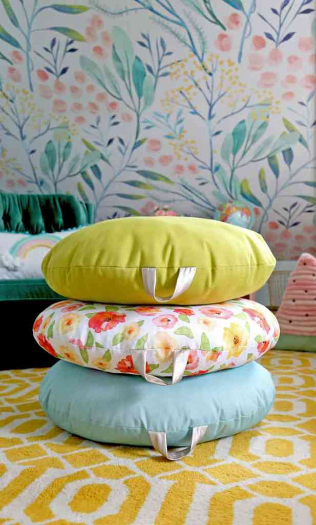 How to Sew a DIY Floor Pillow tutorial featured by top US craft blog, Fynes Designs: image of pillow stack
