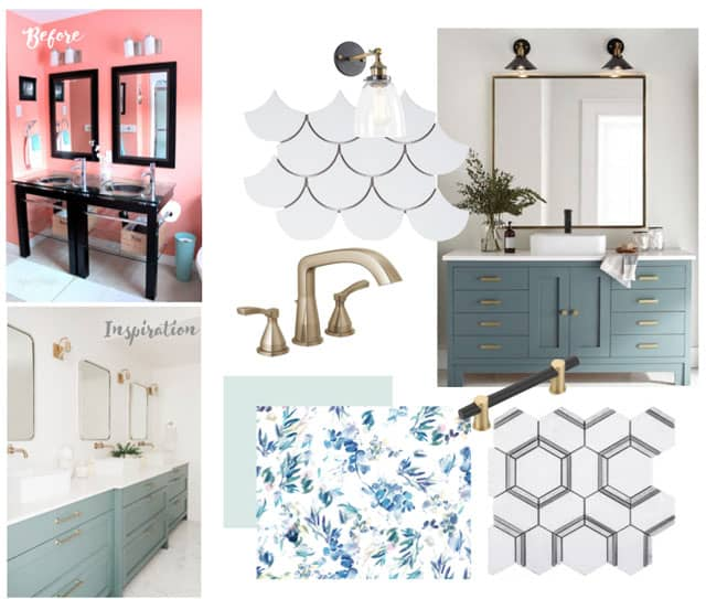 Fynes Designs bathroom makeover inspiration | Bathroom Makeover Ideas and Inspiration by popular Virginia life and style blog, Fynes Designs: collage image of STRYKE™ Widespread Faucet, Jeffrey Court Allegro White Fan 8.75 in. x 13 in. x 8 mm Ceramic Mosaic Tile, floral wallpaper, Jeffry Court Locket 12 in. x 10.5 in. x 10 mm Natural Stone Mosaic Tile, blue vanity and before picture of a bathroom with coral pink walls and a black double vanity with a glass top.